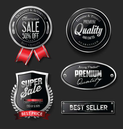 Collection of silver and black badges and labels Vettoriali