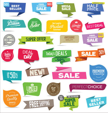 Collection of modern sale stickers and tags Vettoriali