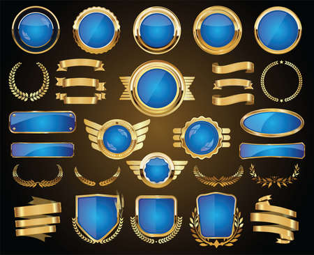 Collection of Gold and blue badges labels laurels shield and metal plates Vettoriali