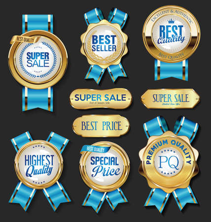 Collection of Golden badges labels laurels shield and metal plates Vettoriali