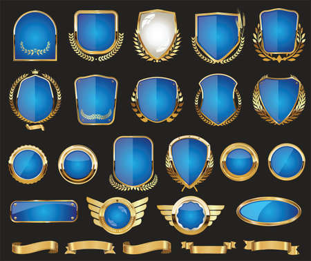 Golden shields laurel wreath badge and labels retro design collection