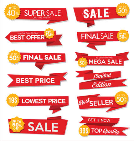 Collection of red sale stickers and tags Vettoriali