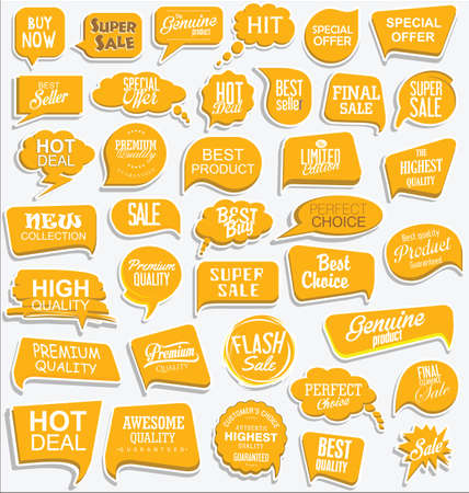 Collection of modern yellow sale stickers and tags Vettoriali