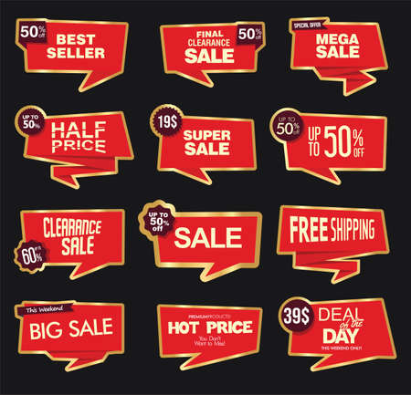 Collection of modern red sale stickers and tags