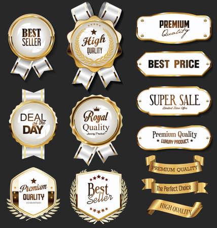 Retro vintage golden badges labels badges and shields