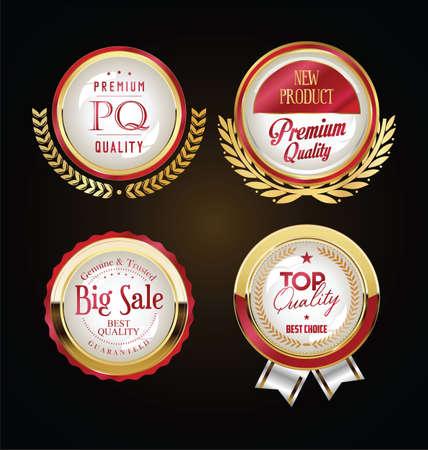 Retro vintage golden badges labels and ribbons