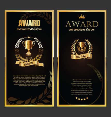 Award golden retro banner on black background Vettoriali