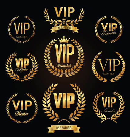 Collection of VIP golden label with laurel wreath luxury template design