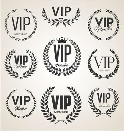 collection vip label with laurel wreath retro design