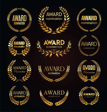 Golden award signs with laurel wreath isolated on black background