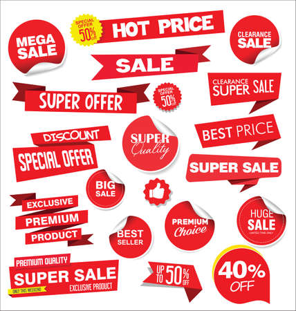 Red sale stickers and tags collection Vettoriali