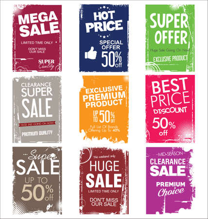 Collection of colorful grunge sale background