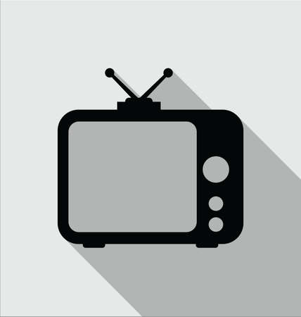 Tv Icon in modern flat style isolated on grey background