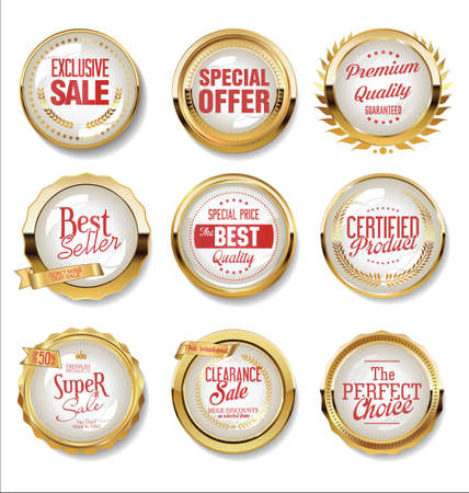 Collection of golden flat shields badges and labels retro style Vektorové ilustrace