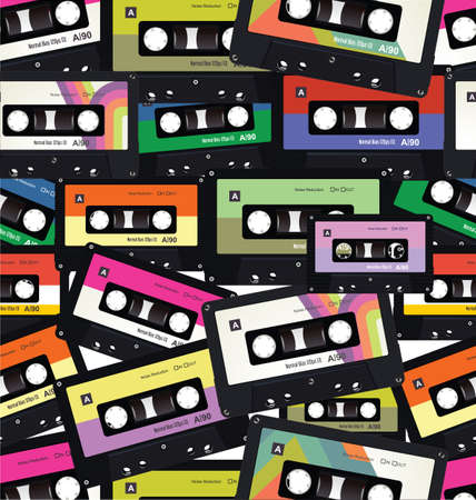 Pattern with old audio cassettes colorful seamless background