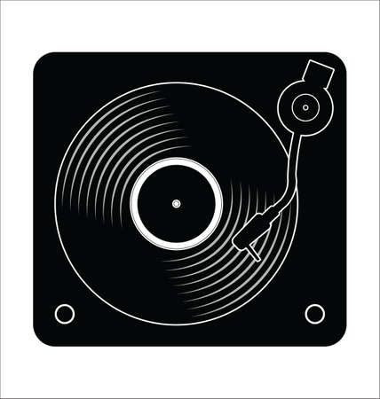 Turntable and vinyl record disc flat simple concept illustration