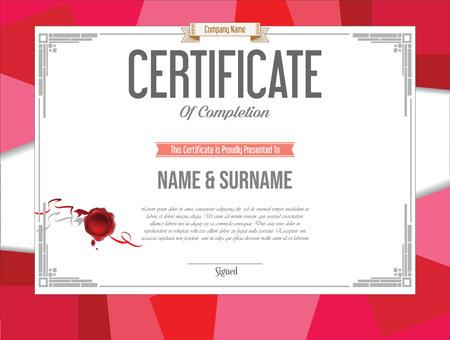 Certificate or diploma retro vintage design template