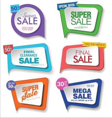 Collection of colorful promo stickers and badges