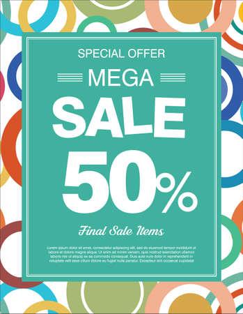 Special offer mega sale colorful background