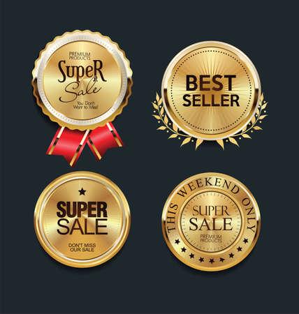 luxury golden design elements badges and labels