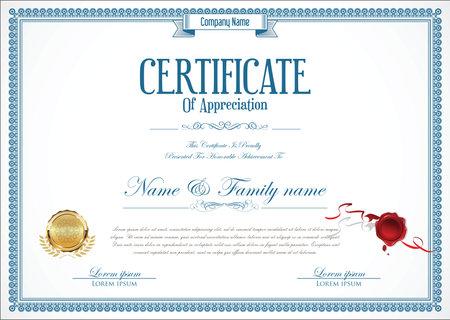 Certificate or diploma retro design Vettoriali