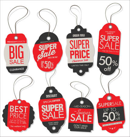 Paper price tag retro vintage style design  red and black collection