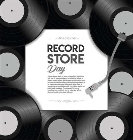 World Record Store Day Retro Design Template Illustration Vettoriali