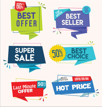 Modern colorful tags and stickers premium quality and best seller collection