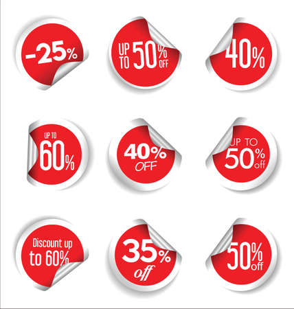 Sale stickers and tags colorful collection Vettoriali