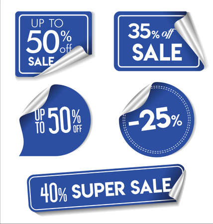 Blue Sale stickers and tags modern collection