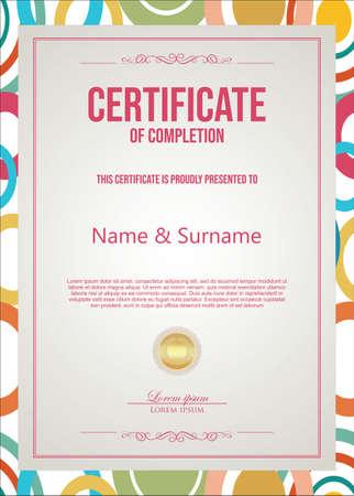 Certificate or diploma retro vintage template Vettoriali