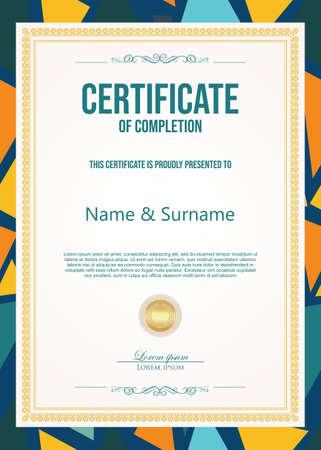 Certificate or diploma retro vintage template Vector Illustratie