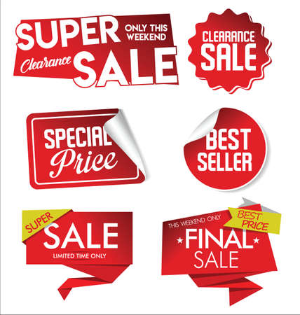 Sale sticker set big collection of red discount tags