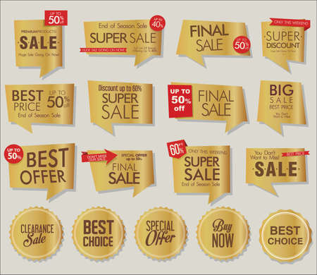 Collection of modern golden sale stickers and tags