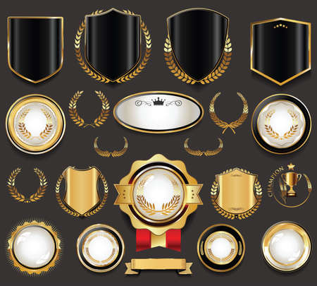 Collection of retro vintage golden sale stickers and tags Vector Illustration