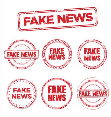 Fake News Collection of grunge retro vintage design stamps Vettoriali