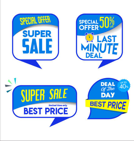 Collection of blue sale stickers and tags