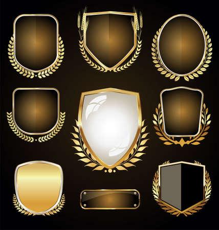 Golden luxury labels retro vintage design collection
