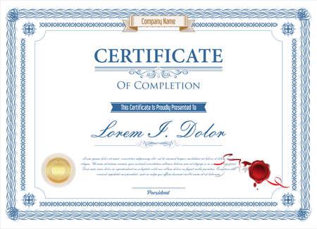 Certificate or diploma retro design template illustration Vettoriali