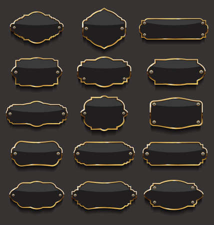 Collection Of black and golden Labels