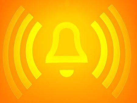 closeup of an orange alarm sign button