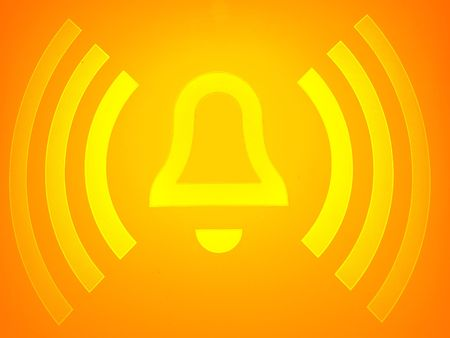 closeup of an orange alarm sign button Stock Photo - 4901948