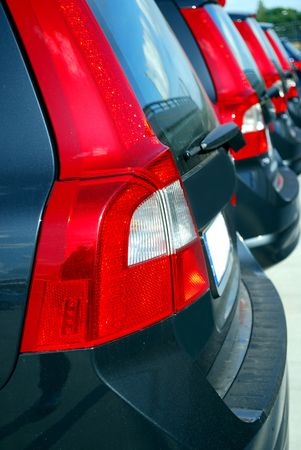 many new rental cars in a row on a car park Stock Photo - 5010945