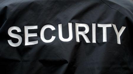 garde corps: macro d'une veste d'un garde de s�curit� Banque d'images
