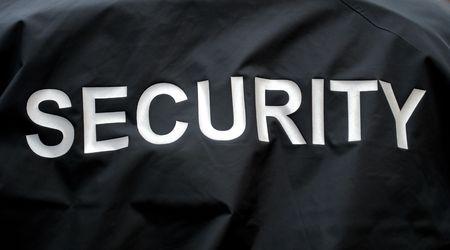 guardaespaldas: macro de una chaqueta de un guardia de seguridad Foto de archivo
