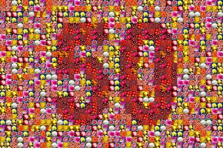 50th: thaousands of photos make a mosaic picture of the number 50 Stock Photo