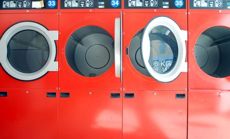 laundrette: washing machines in a laundrette in a row