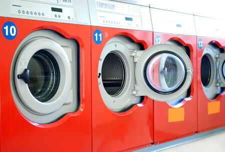 laundrette: washing machines in a laundry in a row