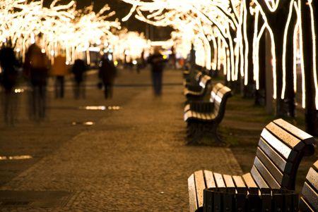christmastime: christmastime with seasonal lighting in berlin at night Stock Photo