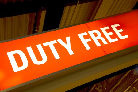 red illuminated sign with the words duty free Stock Photo